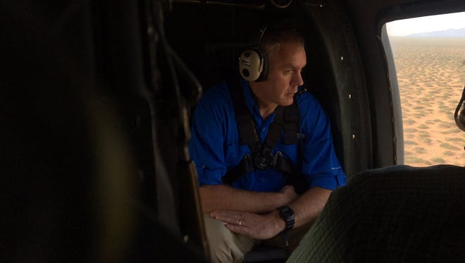 The twitter account for U.S. Secretary of the Interior Ryan Zinke included this photo in a tweet Thursday, July 27, 2017, thanking the 1st Armored Division out of Fort Bliss for the helicopter ride over the Organ Mountains.