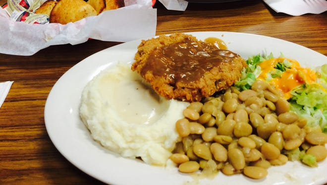 Strawn's chicken-fried steak with lima beans, mashed potatoes, corn bread and chicken and dumplings.