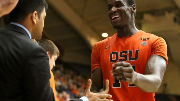 Oregon State's Daniel Gomis during their game with UCLA at Gill Coliseum on Thursday, Jan. 22, 2015, in Corvallis, Ore.