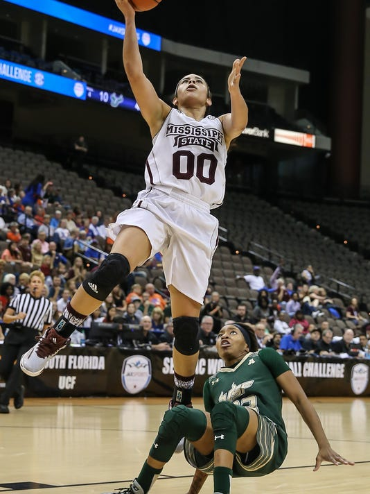 Mississippi State guard Dominique Dillingham (00) goes up for a shot over South Florida guard Shalethia Stringfield (23) during the first half of an NCAA basketball game in Jacksonville, Fla., Wednesday, Dec. 30, 2015. (AP Photo/Gary McCullough)