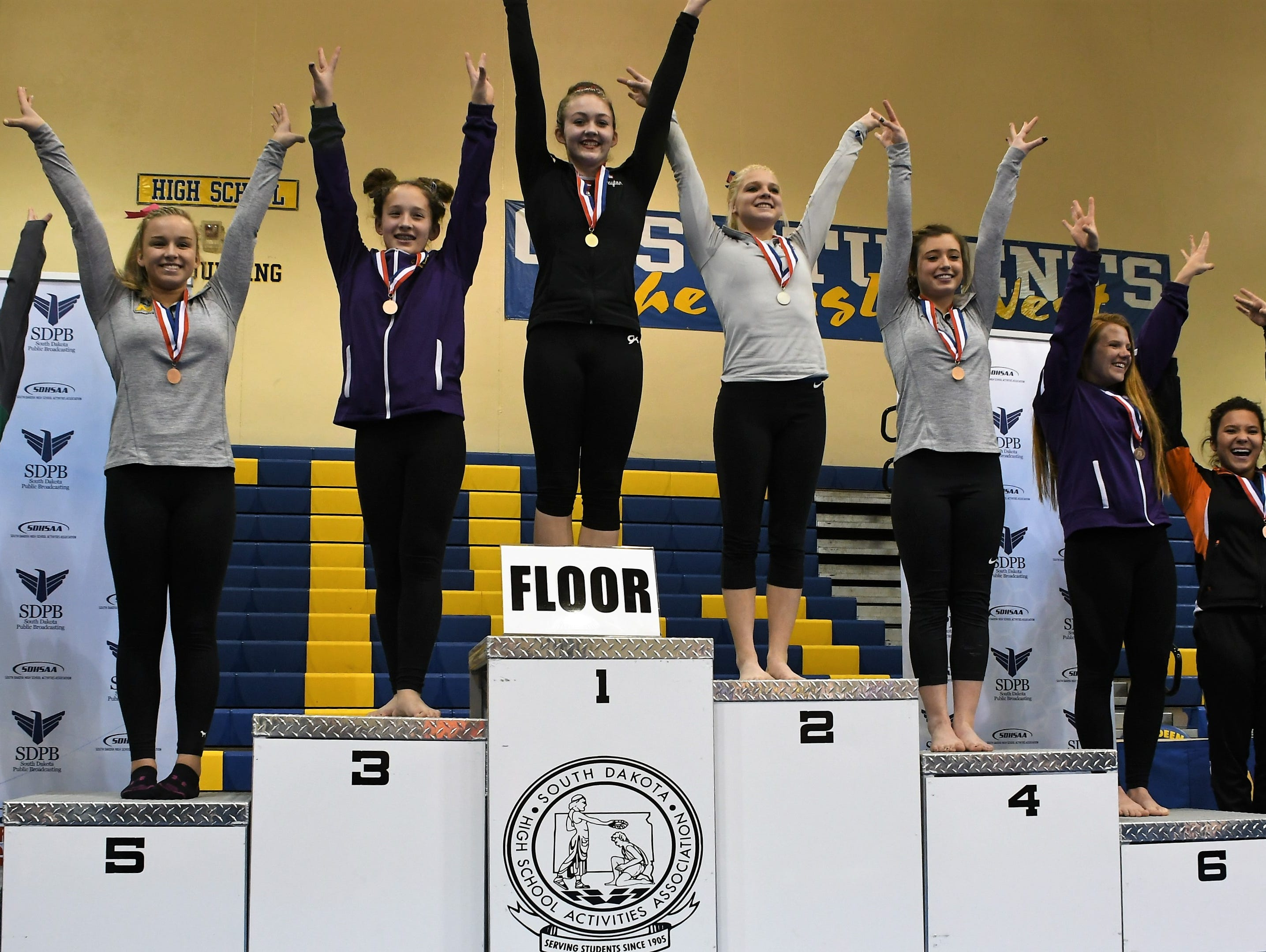 Top 8 finishers on floor exercise.