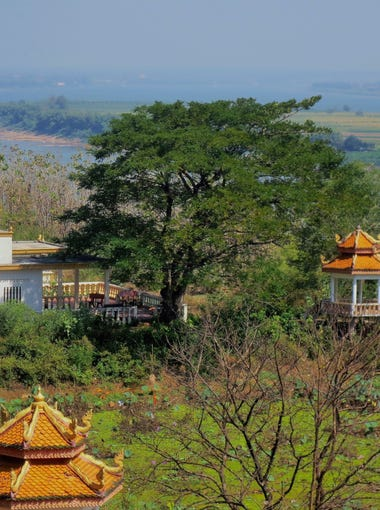 View of the Mekong River from the Wat Hanchey Monastery in Cambodia,