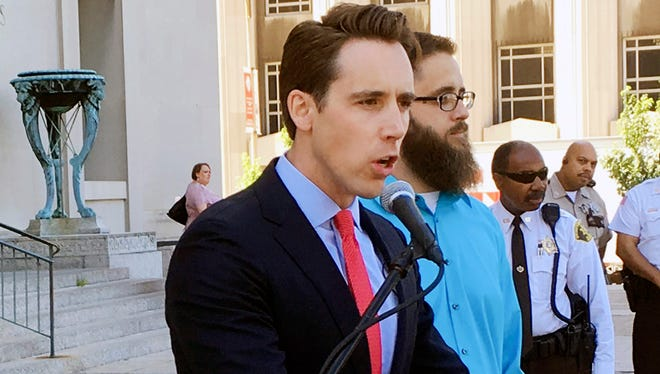In this June 21, 2017, file photo, Missouri Attorney General Josh Hawley speaks at a news conference in St. Louis.