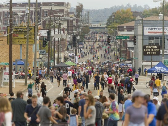 A one-mile stretch of Central Street closed for Open Streets Knoxville on Sunday, Oct. 25, 2015.