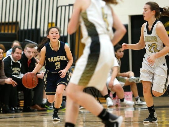 Susquehanna Valley senior Holly Manchester looks for an opening Tuesday in the Sabers' game at Windsor. Manchester's play has helped SV to a 16-0 start.