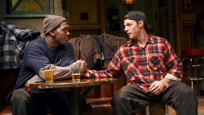 "Khris Davis (left) and Will Pullen star in ""Sweat."""