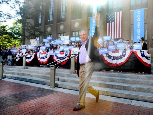 Democratic vice presidential nominee Senator Tim Kaine