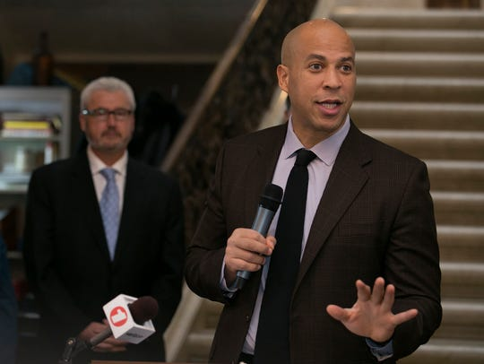 U.S. Senator Cory Booker speaks at an event for Mayor