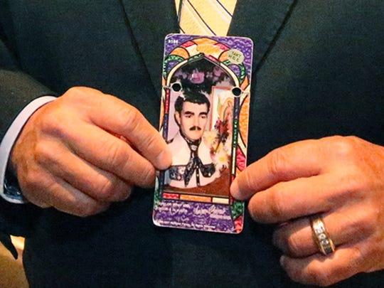 "Image of the ""narco-saint"" Jesus Malverde."