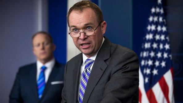 White House budget director Mick Mulvaney speaks to