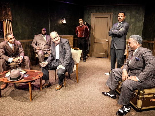 "Emmanuel McKinney (from left) as Joe Louis, Johnathon Williams as Paul Robeson, Ron Gephart as Branch Rickey, Mario Hoyle as Clancy Hope, Courtney Williams Robertson as Jackie Robinson and Frank W. Johnson as Bill 'Bojangles' Robinson in Hattiloo Theatre's production of ""Mr. Rickey Calls a Meeting,"" running Friday through Oct. 16."