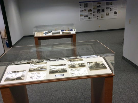 Display cases at the Jewish Historical Society of North