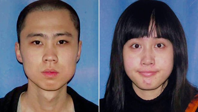 An April 13, 2012, file combo made from undated file photos released by the Los Angeles Police Department shows shooting victims Ming Qu, left, and Ying Wu. Jurors in the case of a man charged with the murders of the Chinese students at the University of Southern California were played a videotape Thursday, Oct. 16, 2014, where he bragged about the shootings. Prosecutors played the video of Javier Bolden boasting to a cellmate after his arrest in the killings.