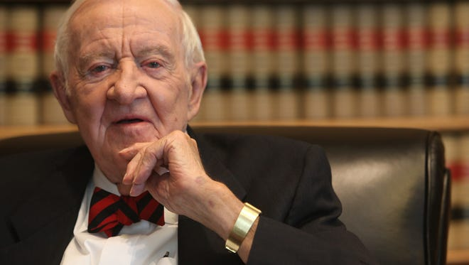 Former Supreme Court Associate Justice John Paul Stevens is interviewed in his chambers at the court in Washington on April 17, 2014.