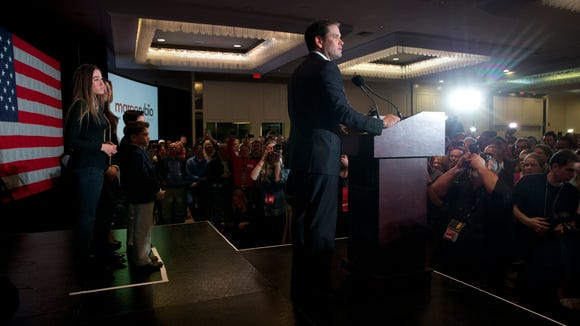 Marco Rubio speaks during his primary night rally in