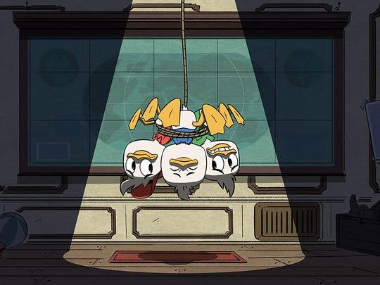 """Bobby Moynihan, Danny Pudi and Ben Scwartz in """"DuckTales"""""""