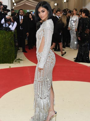 She stunned in a silver Balmain gown while at the Met Gala on May 2, 2016, in New York.