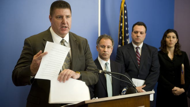 Special Agent in Charge of the FBI's Newark Field Office Michael B. Ward addresses the media during a press conference announcing 13 arrests including Nicodemo Scarfo, for racketeering and illegally taking over a publicly traded company in 2011. Scarfo was convicted of financial fraud Thursday.