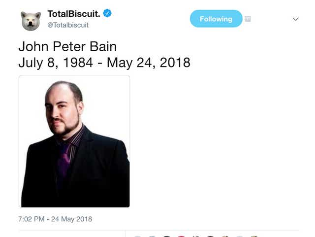 Totalbiscuit Youtube Video Game Critic John Bain Dies Of Cancer At 33