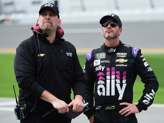 Johnson and Meendering during qualifying for the Daytona 500. (Jared C. Tilton/Getty Images)