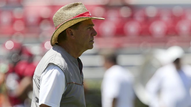 Coach Nick Saban watches his Crimson Tide team during practice Saturday, Aug. 17, 2019 in Bryant-Denny Stadium.