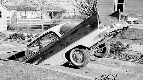 Heavy rains in 1958 caused this car to sink into in