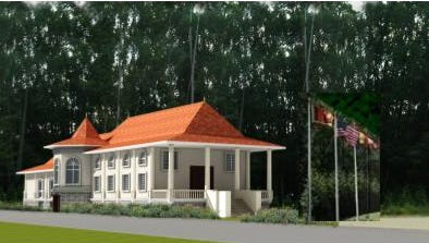 An artistic rendering of the proposed building project at the New Jersey Buddhist Vihara and Meditation Center in Franklin.