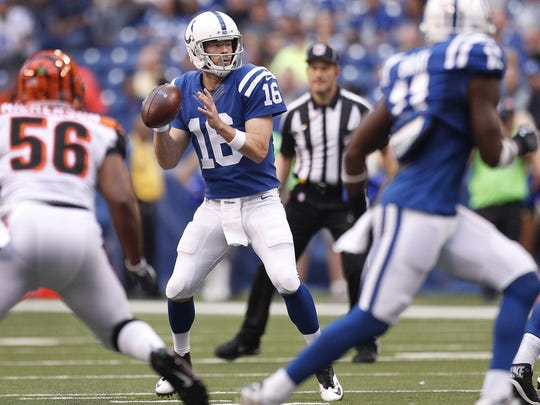 Indianapolis Colts quarterback Scott Tolzien (16) drops back to pass in the first half of their preseason football game Thursday, August 31, 2017.