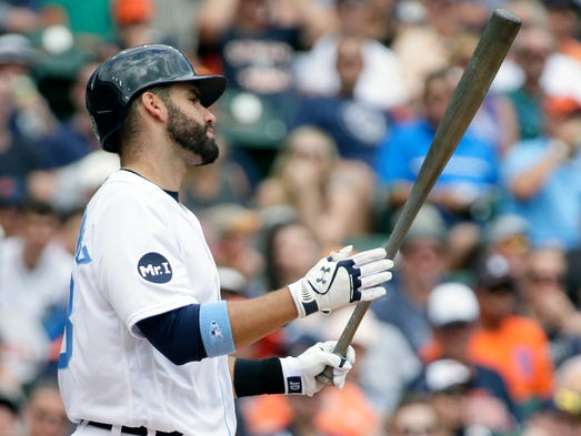 Tigers rightfielder J.D. Martinez reacts after striking