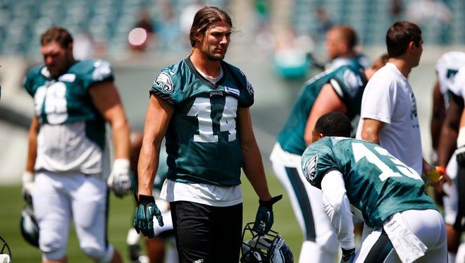 Philadelphia Eagles wide receiver Riley Cooper after NFL football training camp Monday, July 28, 2014, in Philadelphia. (AP Photo/Matt Rourke)