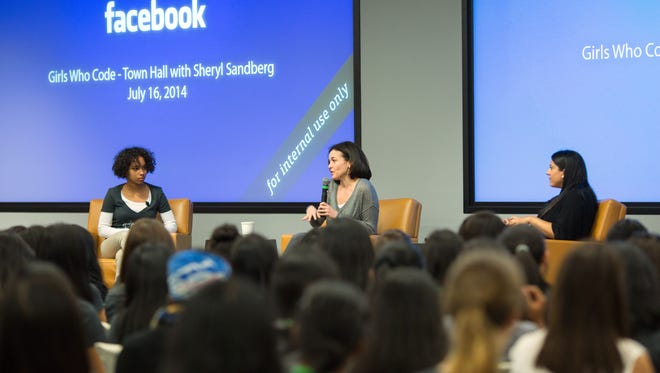 Facebook's Sheryl Sandberg holds a town hall with Girls Who Code