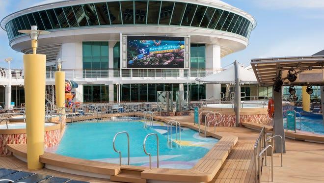 The midship pool area on Royal Caribbean's Navigator of the Seas.