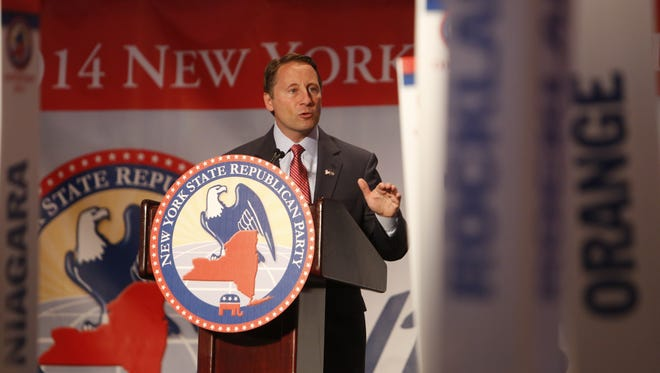 Westchester County Executive Rob Astorino speaks after being nominated as the Republican candidate for governor at the GOP convention at the Hilton Westchester.
