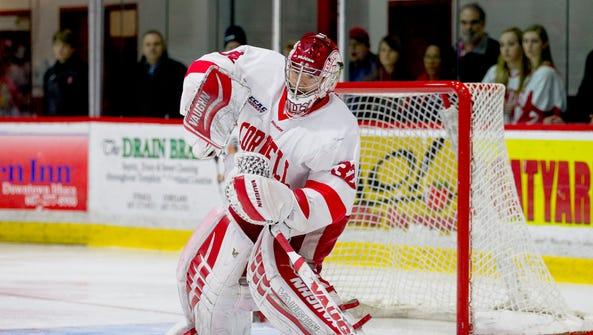 Cornell senior goalie Mitch Gillam has a 21-7-5 record