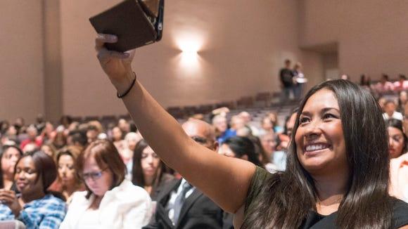 """""""Dreamer"""" Dulce Matuz takes a selfie at a naturalization"""
