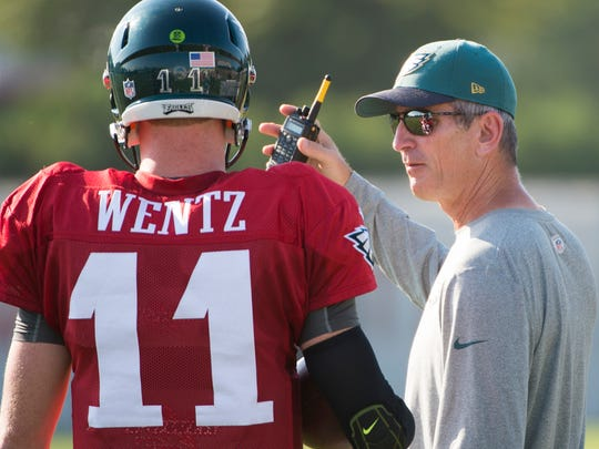 Frank Reich, Eagles offensive coordinator and Lebanon native, chats with rookie quarterback Carson Wentz during Eagles training camp in Philadelphia on Friday, August 5.