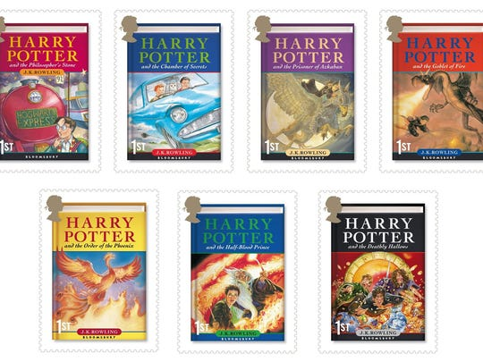 A handout image made available by Britain's Royal Mail of stamps featuring each of the Harry Potter books, Monday May 21, 2007. This postage might not get letters delivered faster, but Britain's Royal Mail predicts fans will find its series of Harry Potter stamps magical. The post office will issue a series of seven stamps on July 17 depicting the covers of each of J.K. Rowling's books about the boy wizard. (AP Photo/Royal Mail/PA) ** UNITED KINGDOM OUT NO SALES NO ARCHIVE **