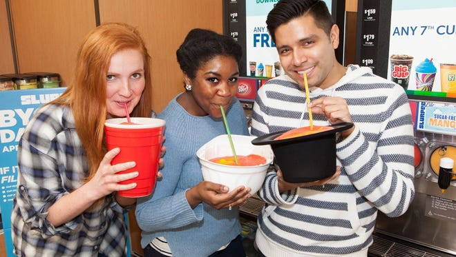 Unusual Slurpee cups for upcoming 7-Eleven BYO Cup Day.