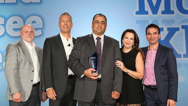 Pictured from left to right: Regional Vice President, East, IHOP, Mark Killeen; President, IHOP, Darren Rebelez; Franchisee of the Year, Mohanad Khmous; DineEquity Chairman & CEO, Julia Stewart; and Regional Vice President, West, IHOP, Charles Scaccia.