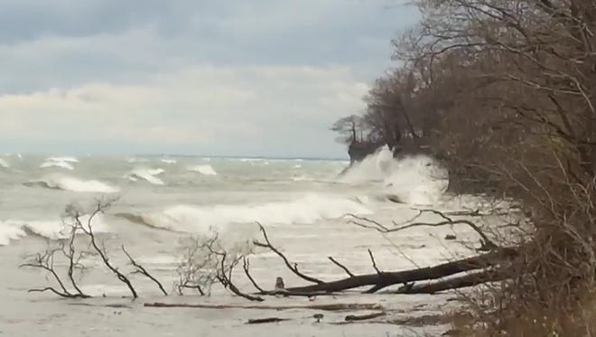 Waves crash into the shore on Lake Erie.