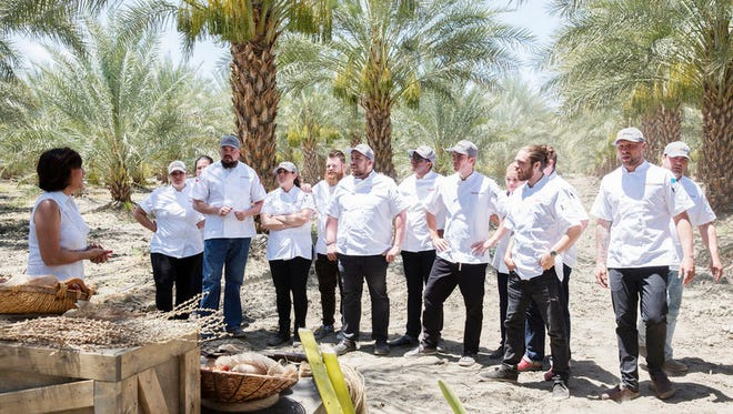 """Top Chef contestants are stand in a Coachella Valley date grove in the """"Big Gay Wedding"""" episode.  Pictured: (l-r) Karen Akunowicz, Isaac Toups, Giselle Wellman, Chad White, Amar Santana, Kwame Onwuachi, Carl Dooley, Angelina Bastidas, Phillip Frankland Lee, Jeremy Ford."""