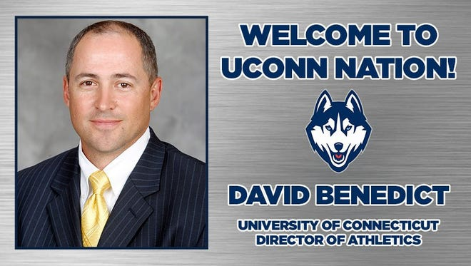 The University of Connecticut has hired Auburn chief operating officer David Benedict as its newest athletics director. Benedict will be formally introduced Tuesday morning in a news conference.