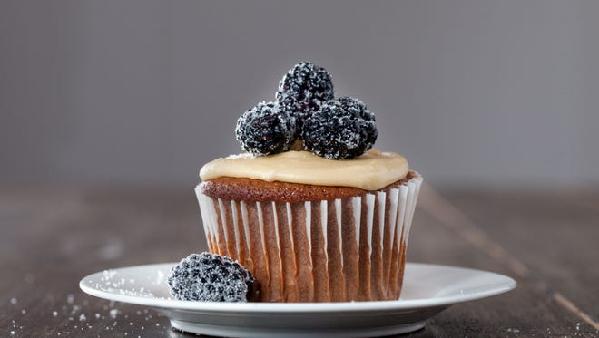 Blackberry Jam Cupcakes with soft caramel frosting from Maggie Green of Fort Wright