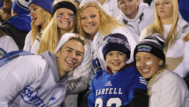 Jackson Stewart, center, at the Sartell-St.Stephen homecoming football game.