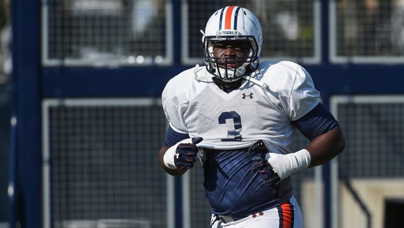 Marlon Davidson (3) Auburn spring football practice