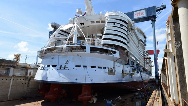 Royal Caribbean's Symphony of the Seas in a dry dock at the STX France shipyard in June 2017. Soon after this photo was taken the dry dock was flooded, floating the vessel for the first time.