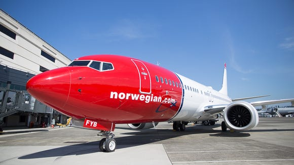 One of two Boeing 737 Max jets being delivered to Norwegian