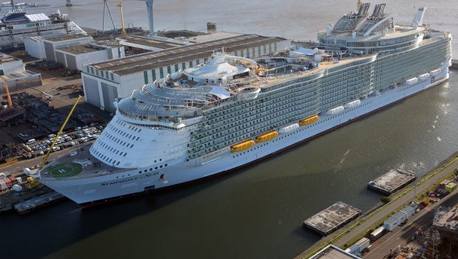 Royal Caribbean's Symphony of the Seas, shown here under construction in January 2018, is the world's largest cruise ship.