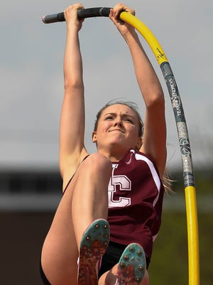 """Henderson County's Jaci Bickett set a personal best with a vault of 12'3"""" during the Indiana/Kentucky Track Challenge held at Evansville's Harrison High School Saturday, April 15, 2017."""