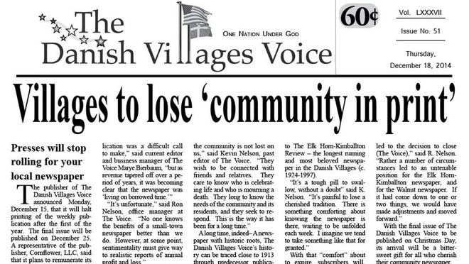 Elk Horn and Kimballtown have lost their community newspapers.